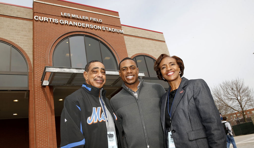 2015 - CURTIS GRANDERSON STADIUM IS BUILT at the University of Illinois - Chicago to host the Chicago Baseball & Education Academy, a program that enables local youth to visit a college campus and play ball.